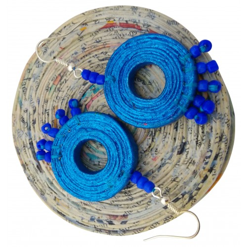 Blue papermade eco friendly earring